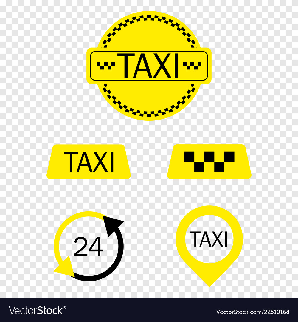 Taxi icons colection on transparent background