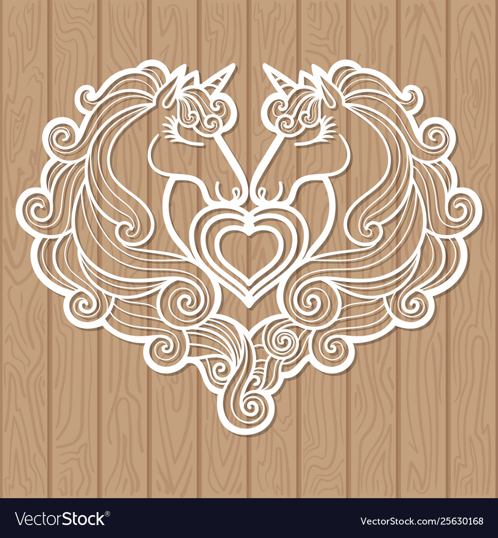 Template for laser cutting two unicorns and a