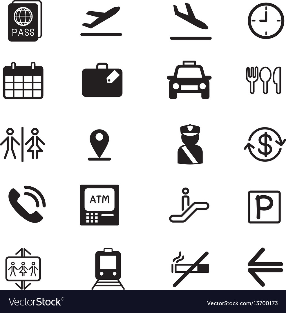 Airport silhouette icons set