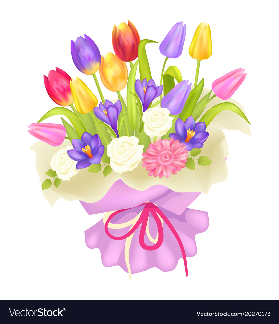 Bouquet Of Flowers In Decor Wrapping Tulips Crocus