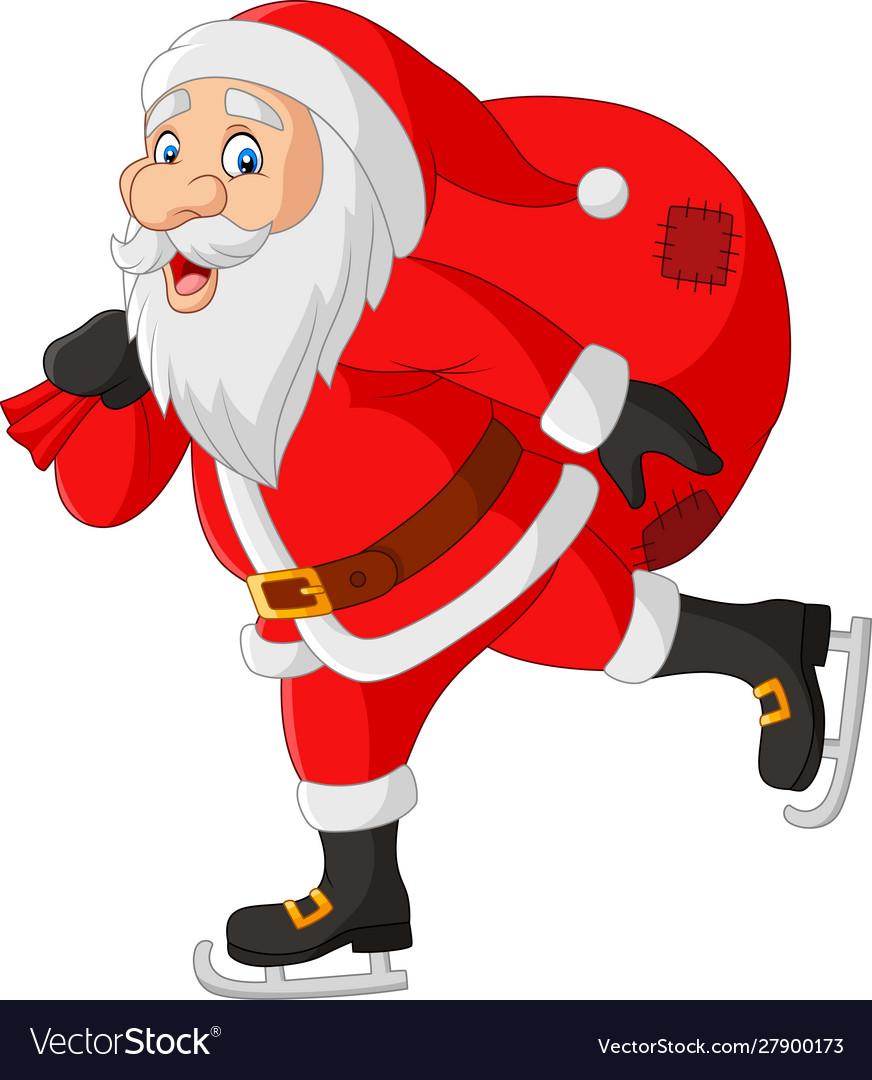 Cartoon santa claus skater carrying a bag gifts