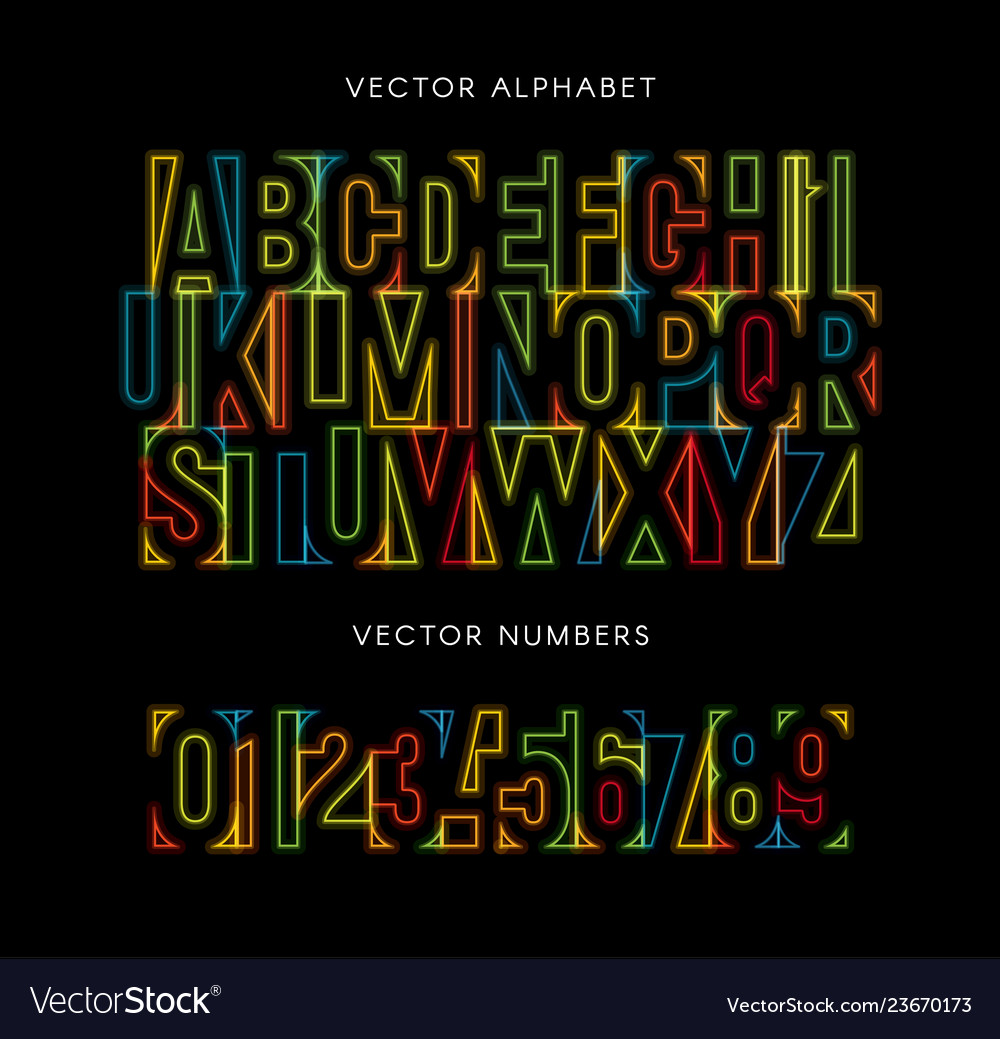 Colorful letters and numbers set colored