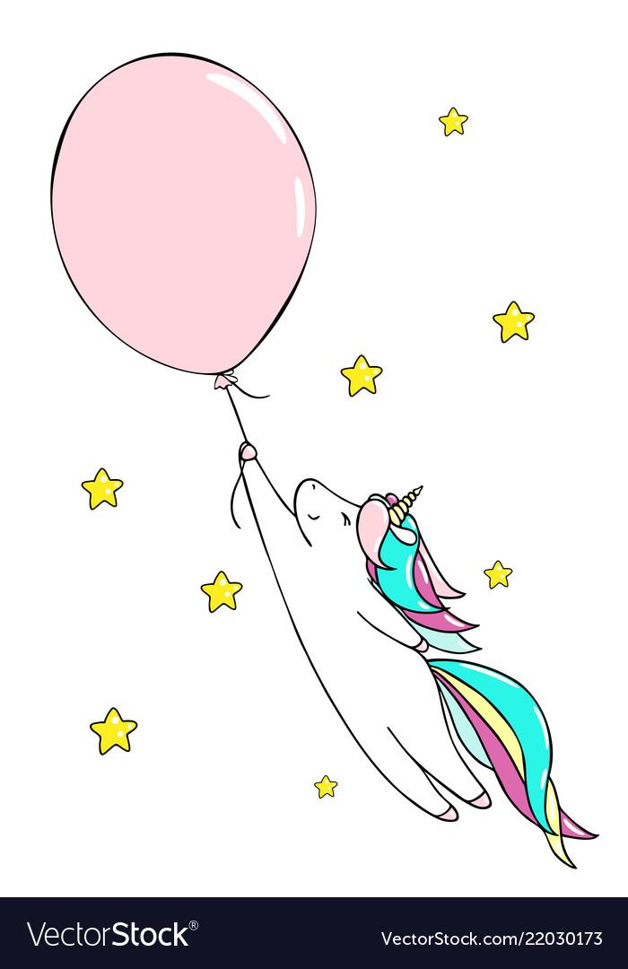 Cute little unicorn and baloon