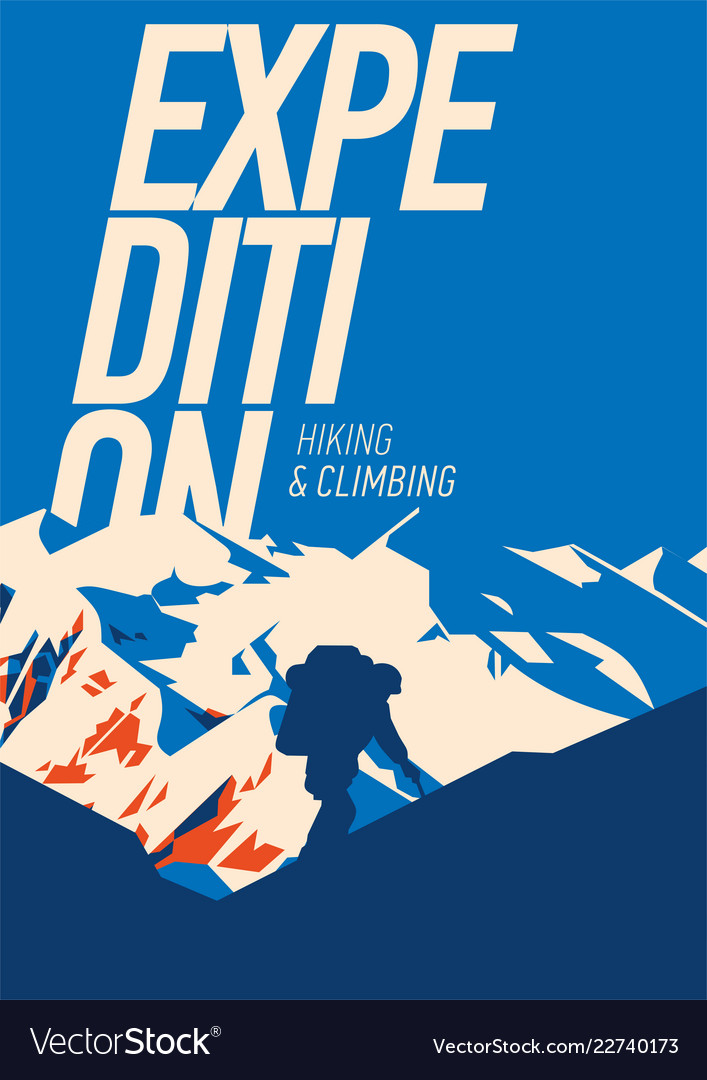 Extreme outdoor adventure poster high mountains