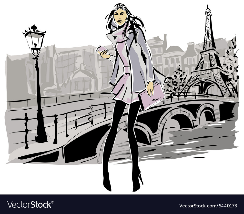 Fashion models in sketch style fall winter with vector image