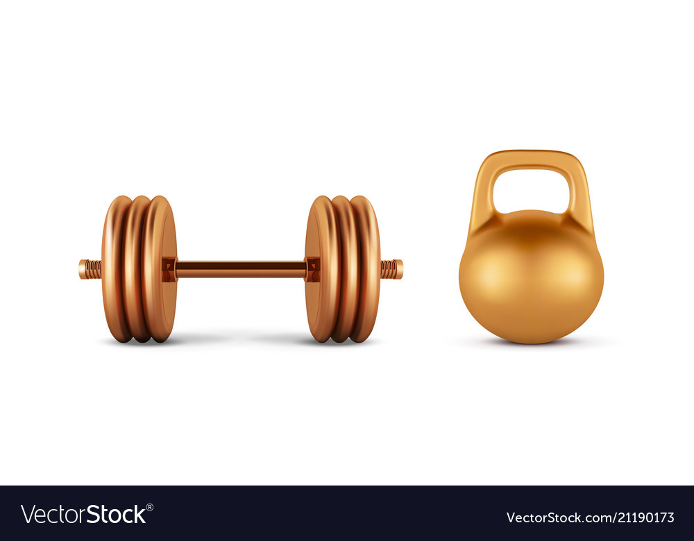 Golden realistic dumbbell weight isolated on white