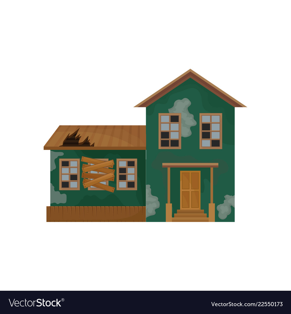 Green house with peeling paint broken roof and