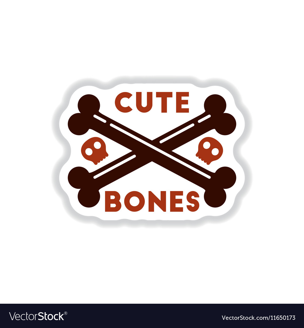Paper sticker on background of cross bones