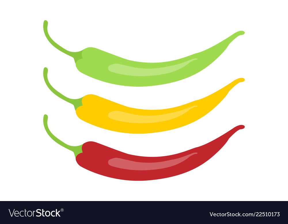 Red chili pepper icon red green and yellow chili