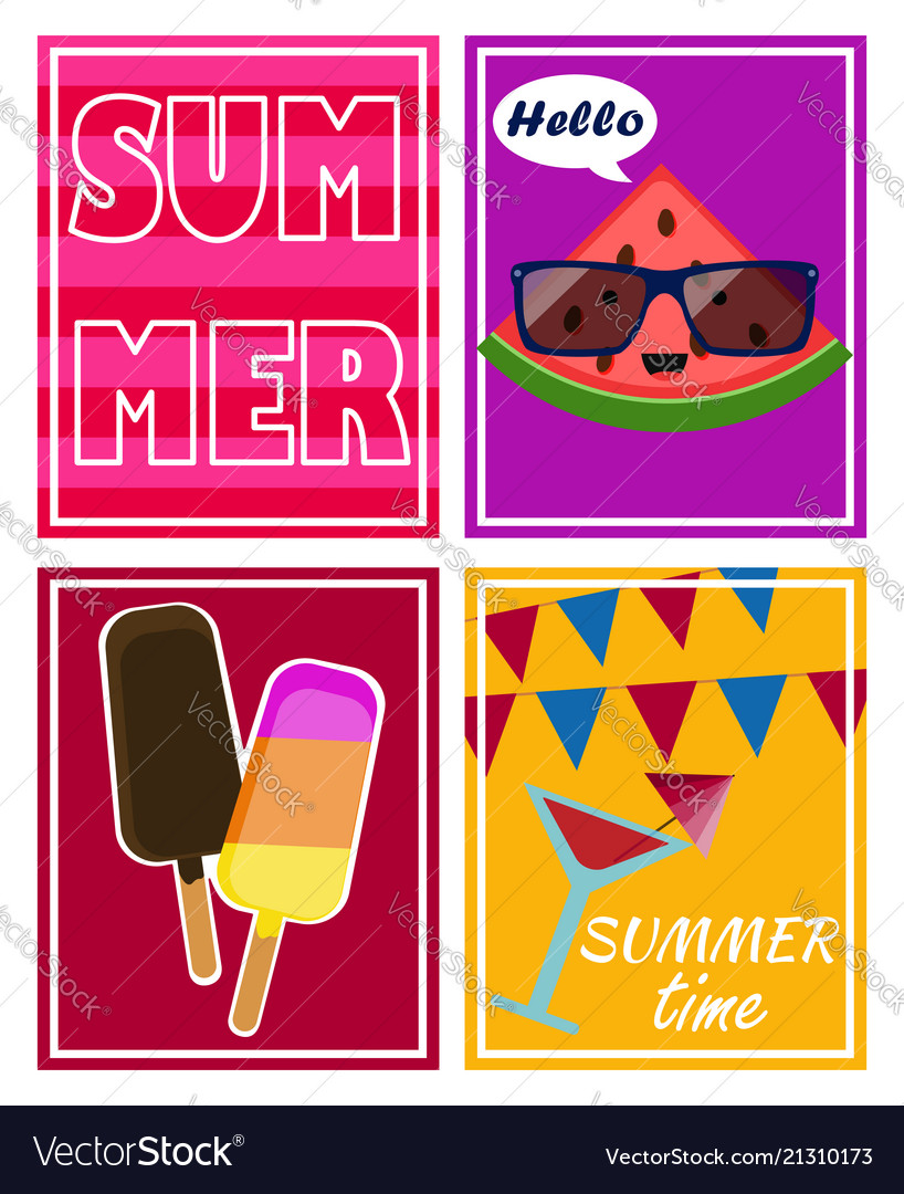 Set of bright summer cards and posters