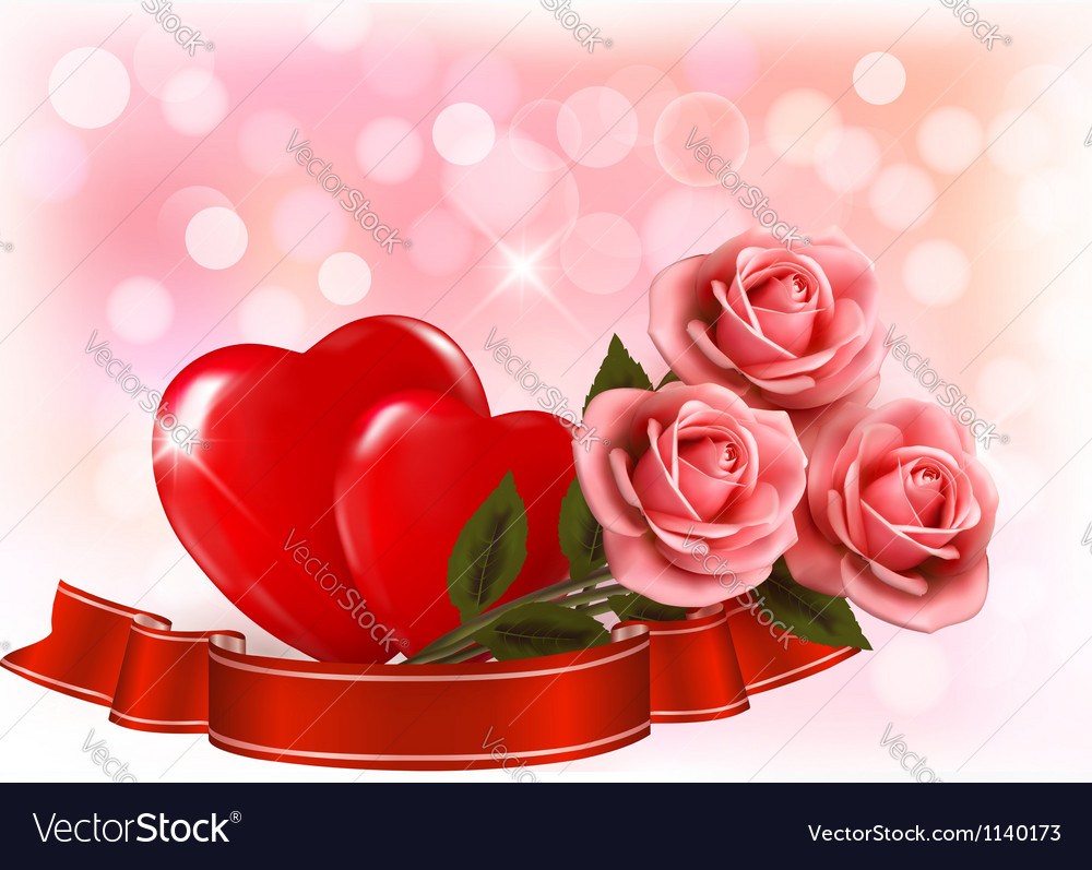 Valentines Day Background Three Red Roses With Two Vector Image On Vectorstock