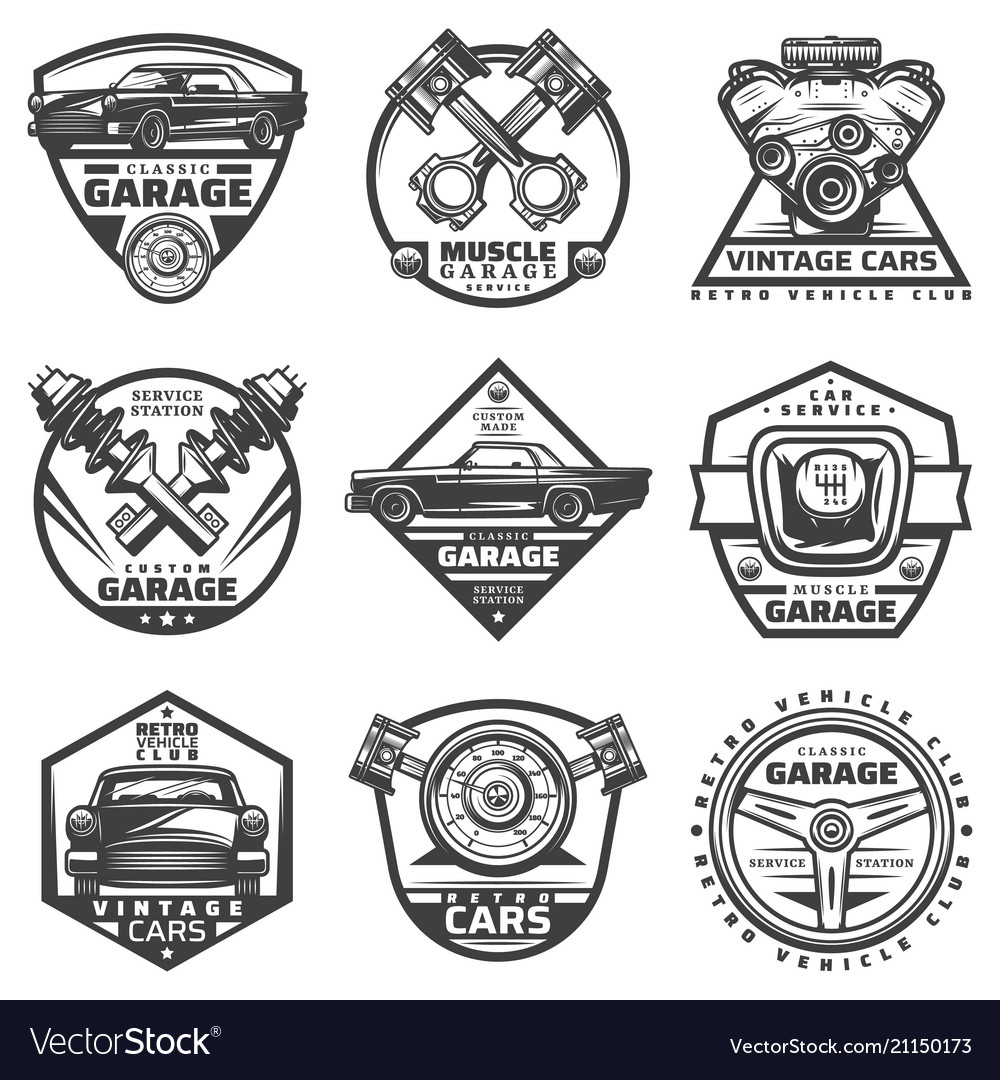 Vintage car repair service labels set