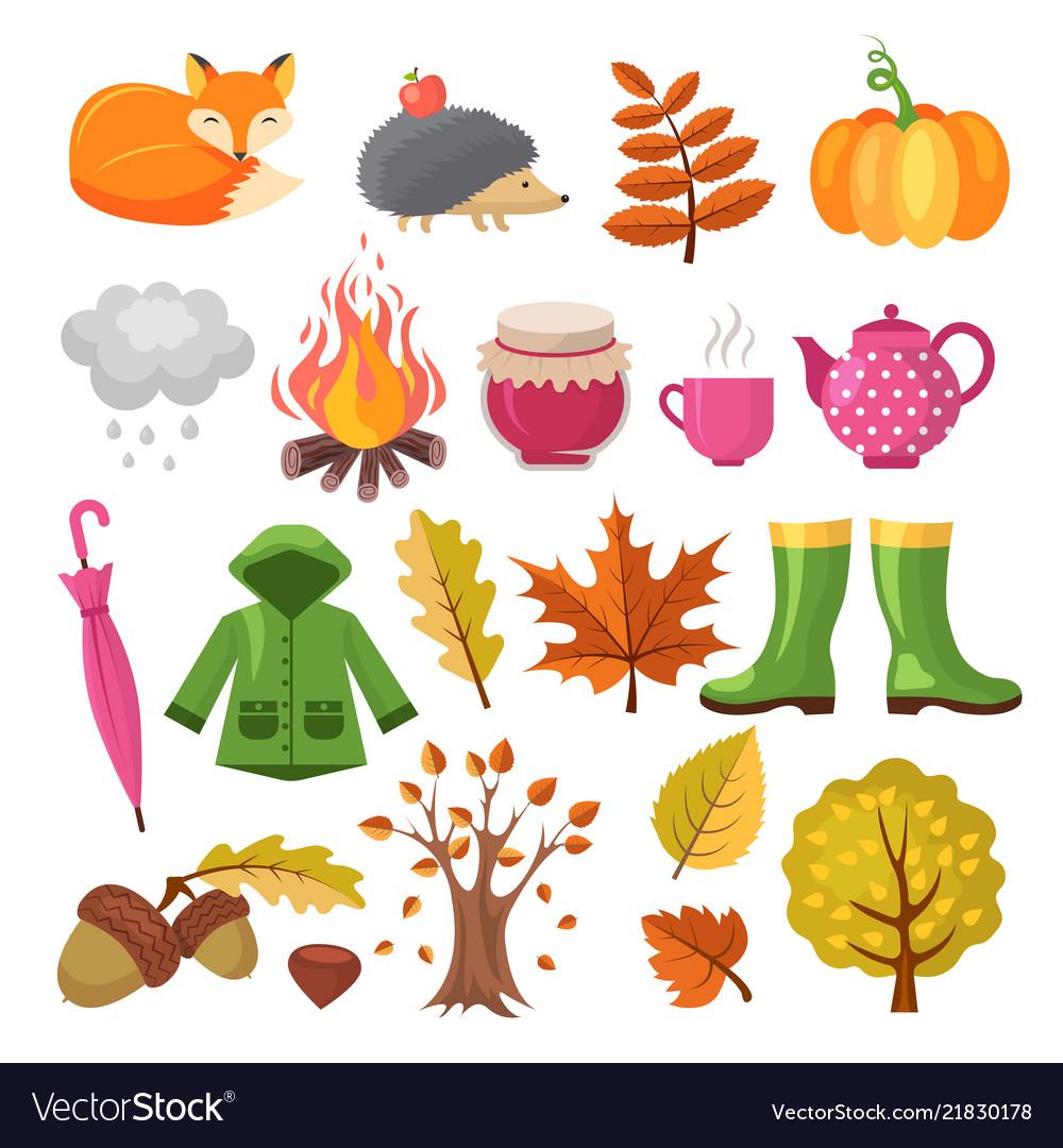 Autumn icon set various symbols of autumn