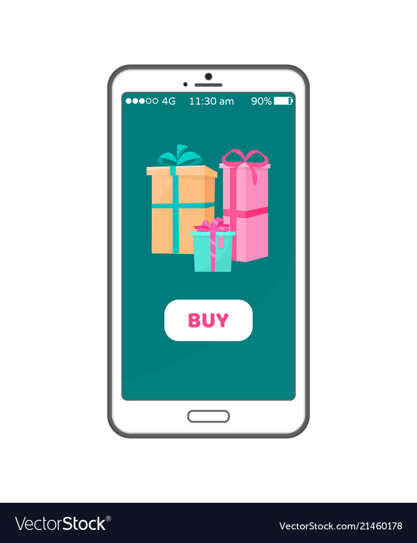 Buy button on smartphone with gift boxes wrapped