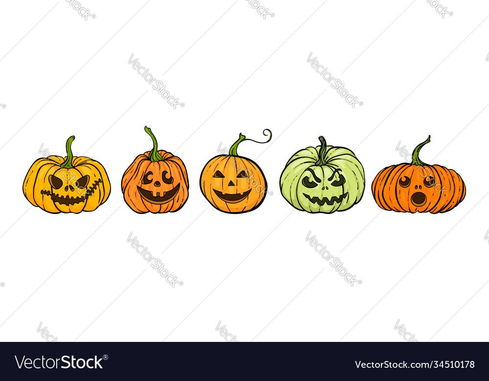 Cartoon halloween pumpkin set orange pumpkins