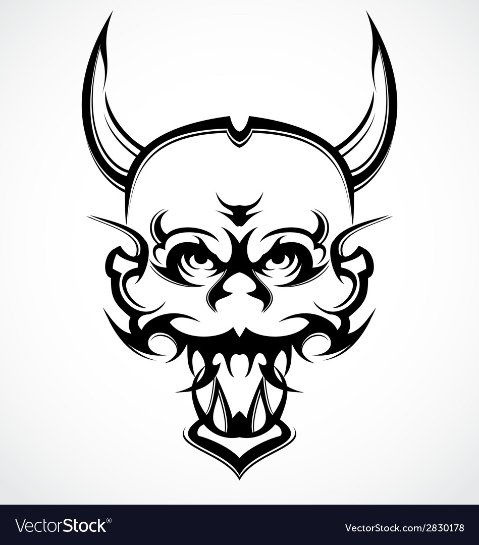 Demon Face Tattoo Design vector image
