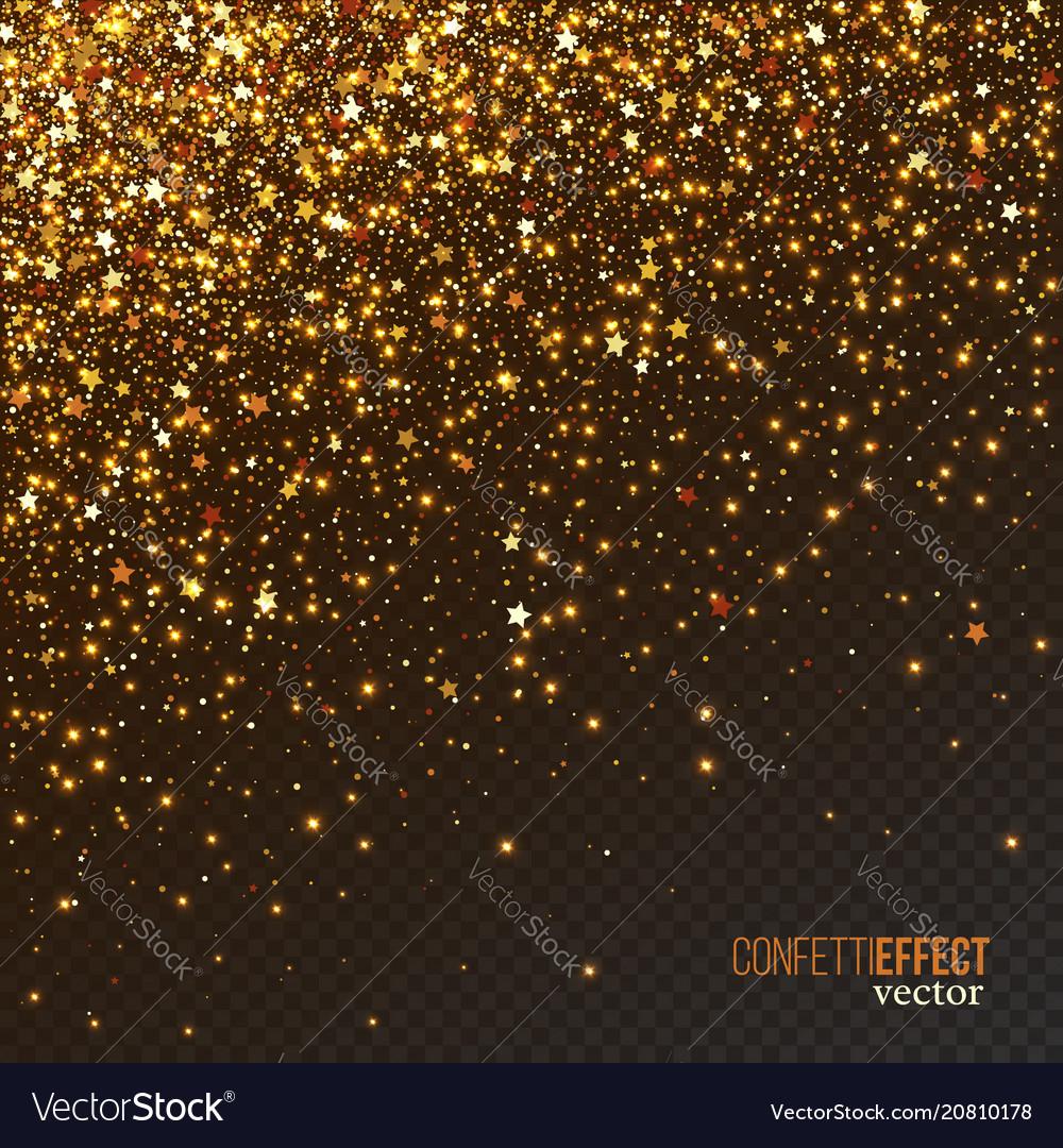 Golden confetti glitters festive falling shiny