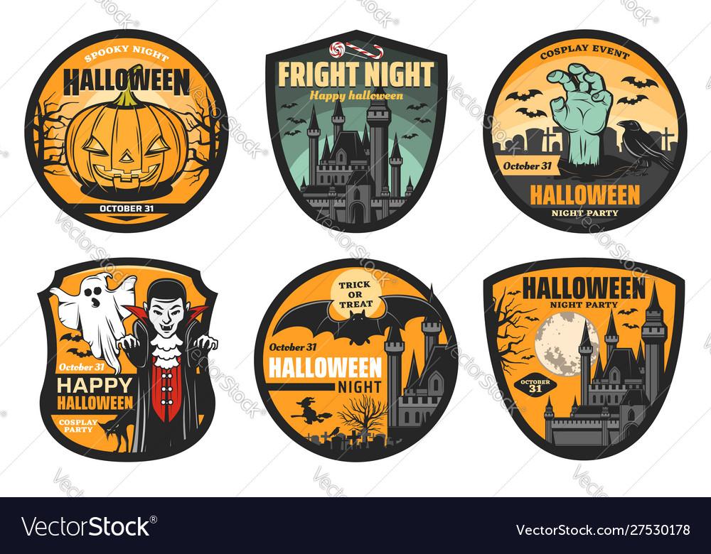 Halloween pumpkin ghost bat and vampire badges