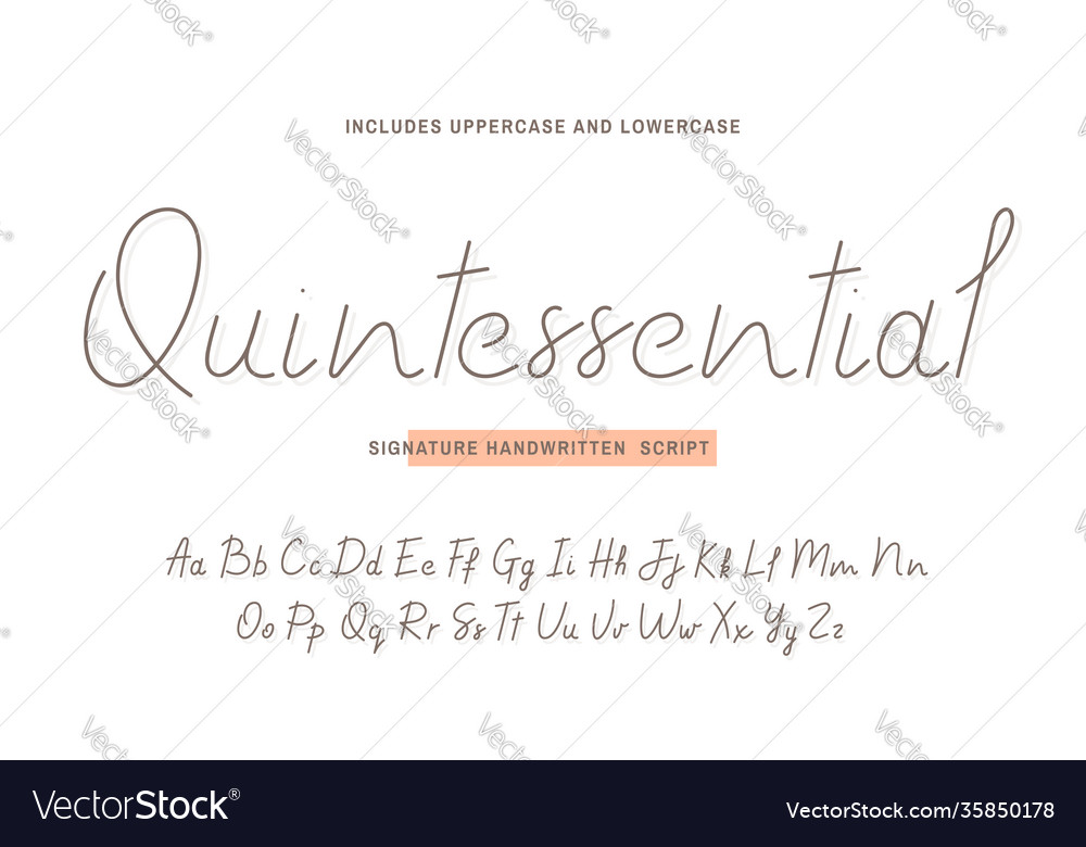 Handwritten font script with uppercase and