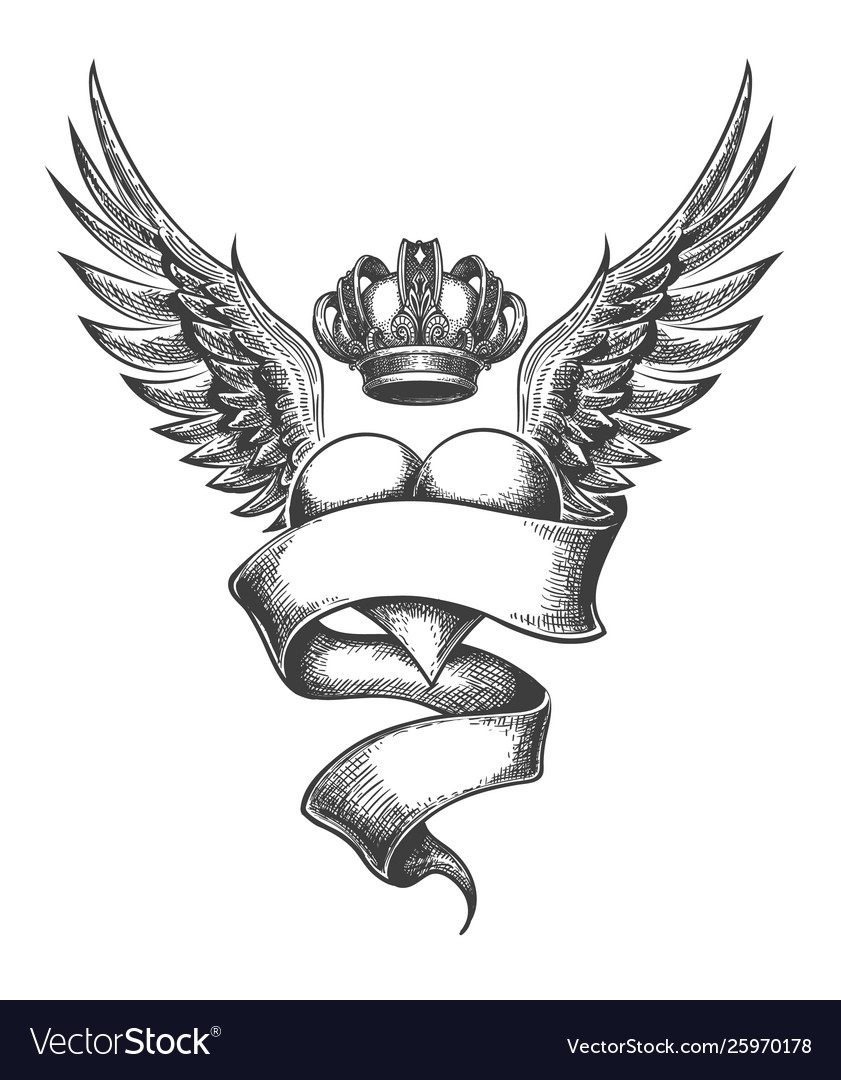 Heart with crown and wings tattoo in engraving