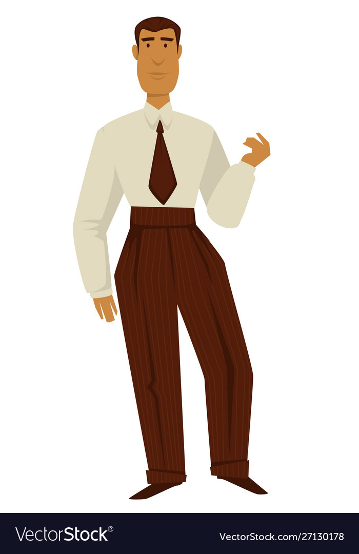 Man in 50s retro clothes 1950s fashion isolated