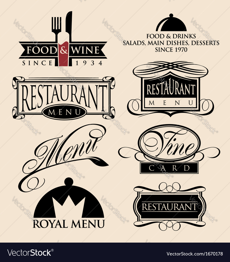Restaurant signs symbols and logos vector image