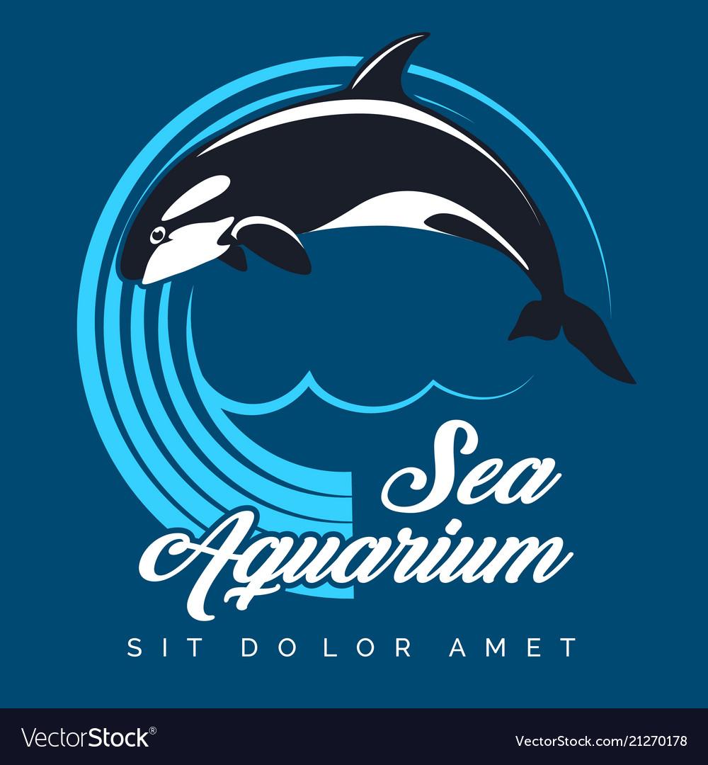 Sea aquarium emblem with jumping orca