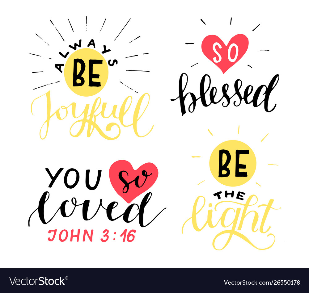 set hand lettering christian quotes be joyful vector image