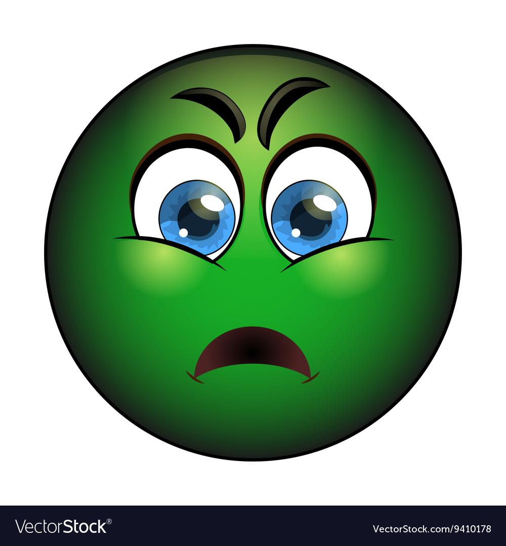 Sick green smiley Emoticon with nausea