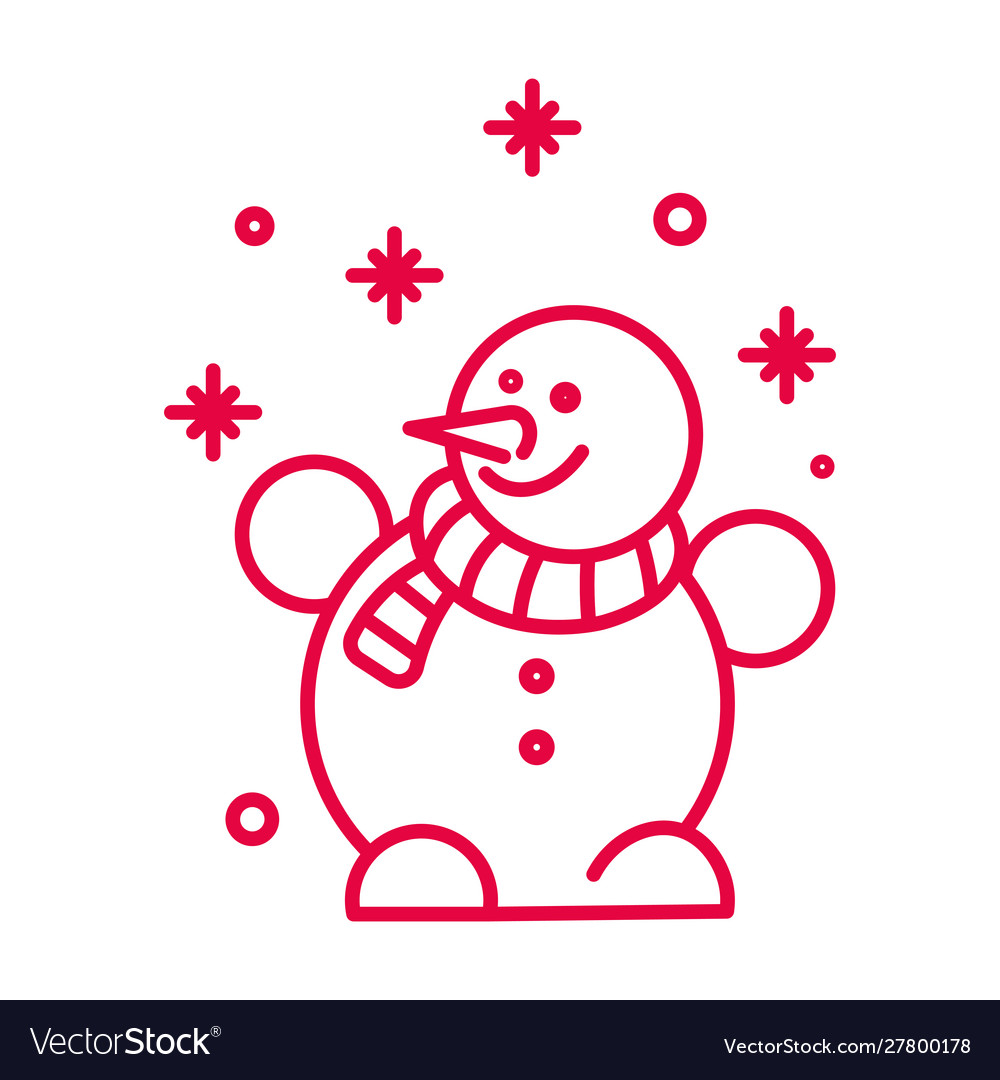 Snowman with striped scarf and snowflakes linear