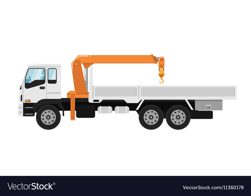 Truck mounted crane isolated on white background