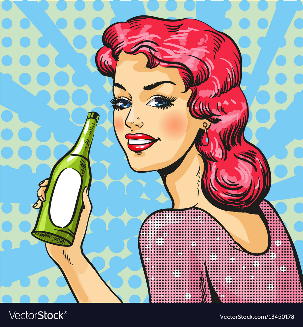 Woman with wine in pop art
