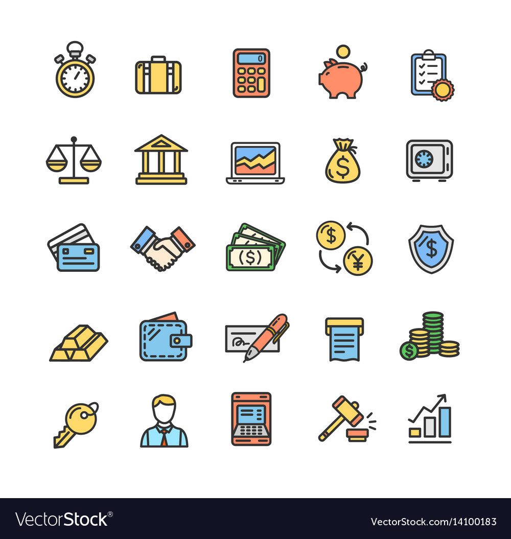 Banking and accounting icon color thin line set