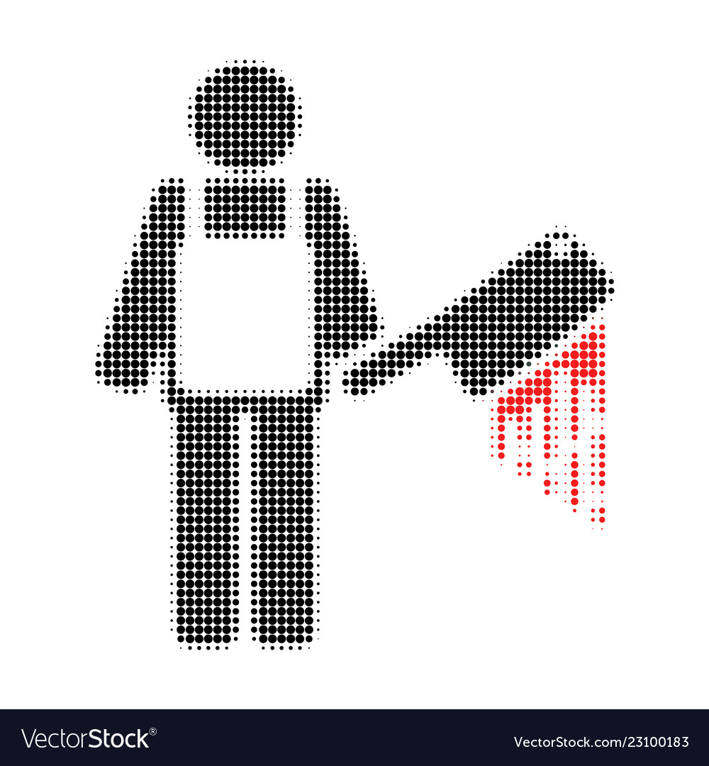 Bloody butcher halftone dotted icon