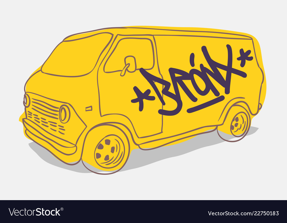Bronx graffiti tagged yellow american muscle van