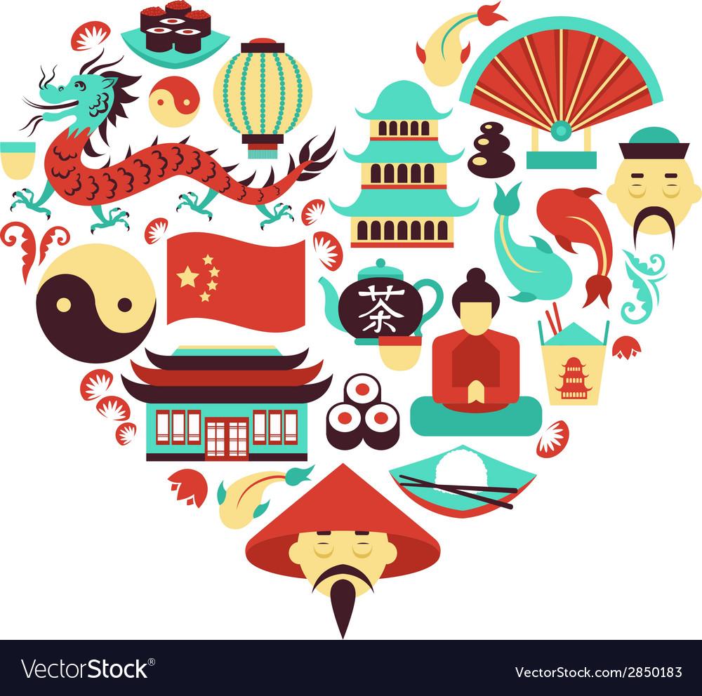 China Symbols Heart Royalty Free Vector Image Vectorstock