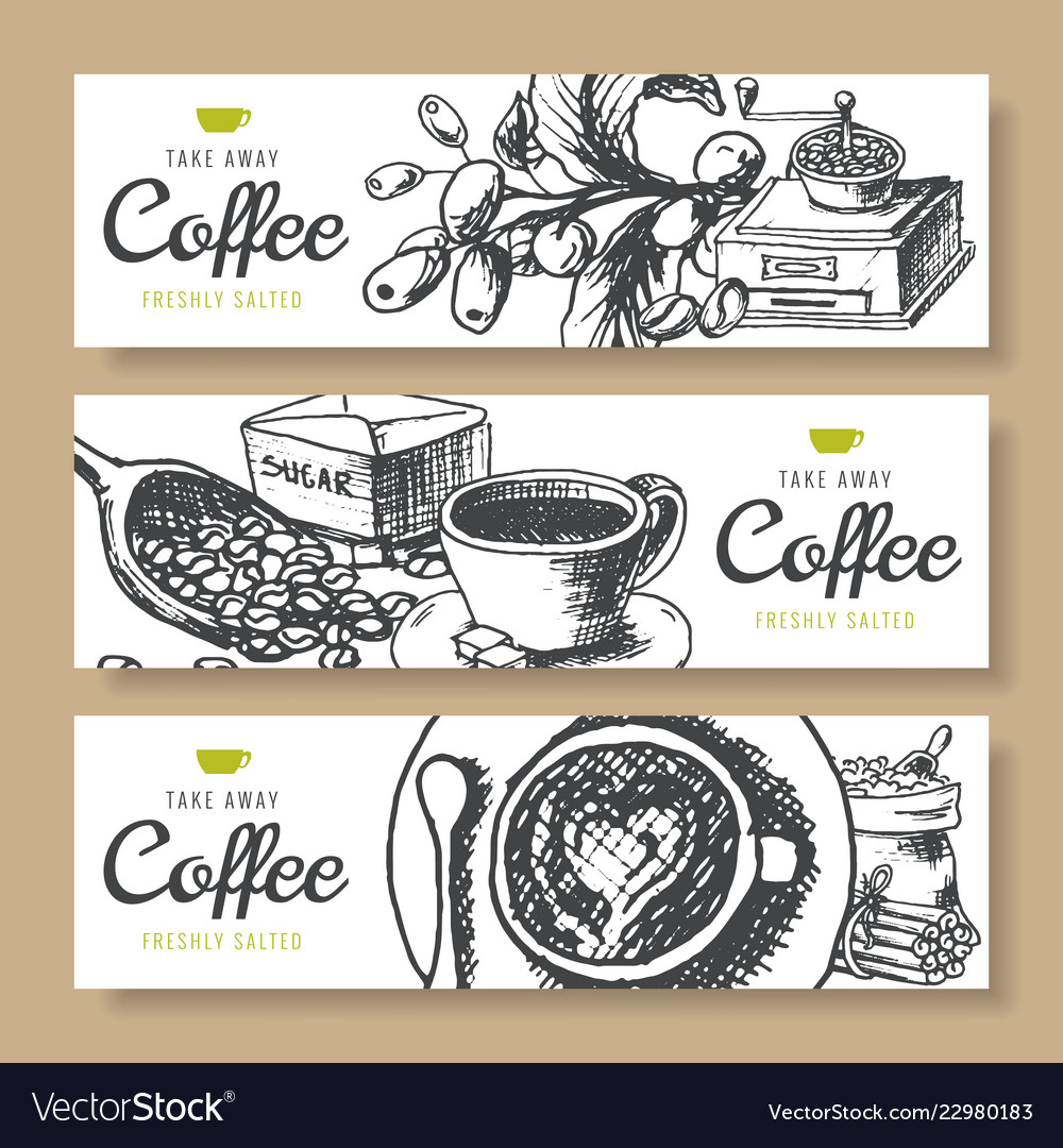 Coffee beans roasted coffee background ink hand