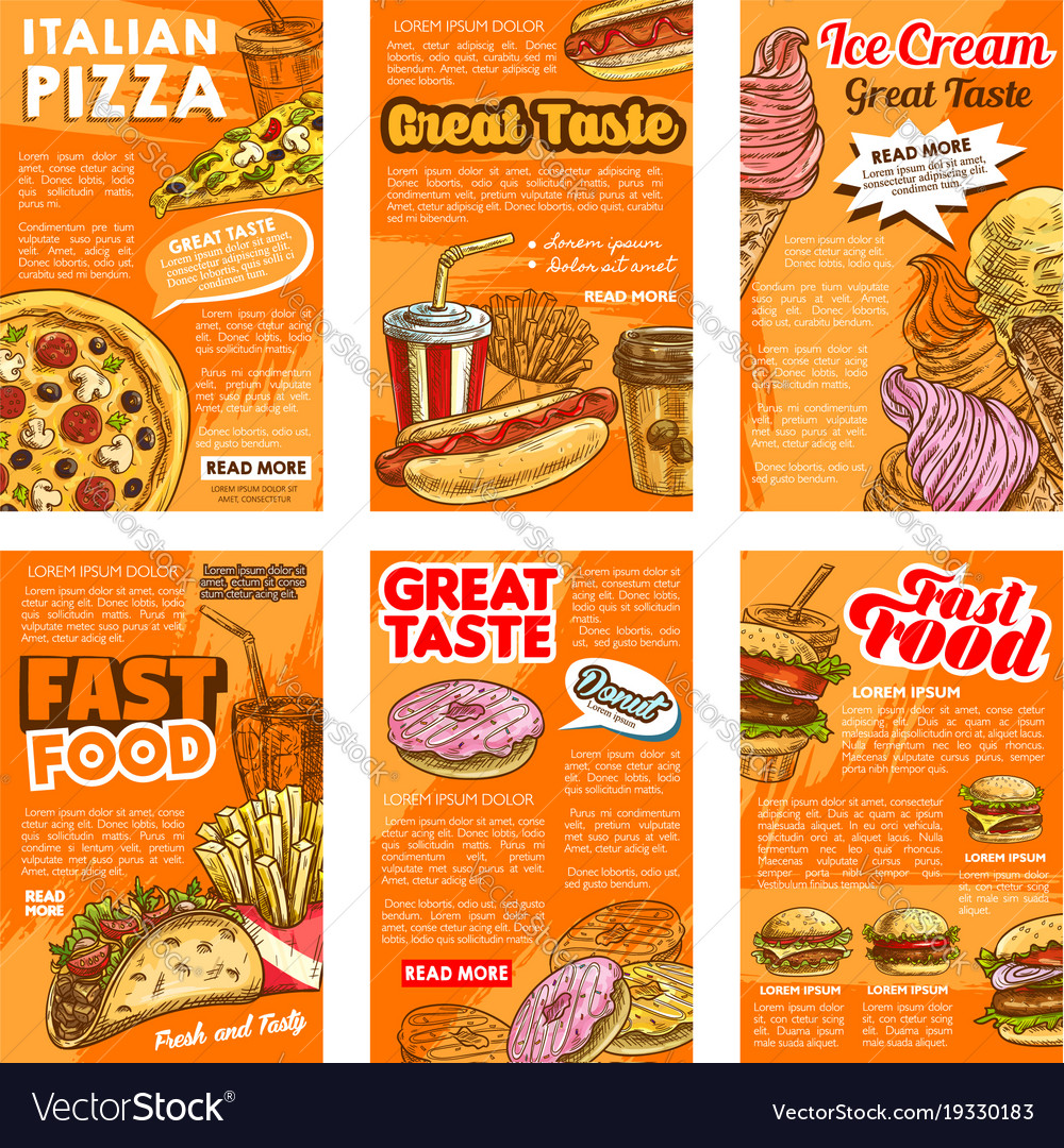 Fast food restaurant lunch snack posters