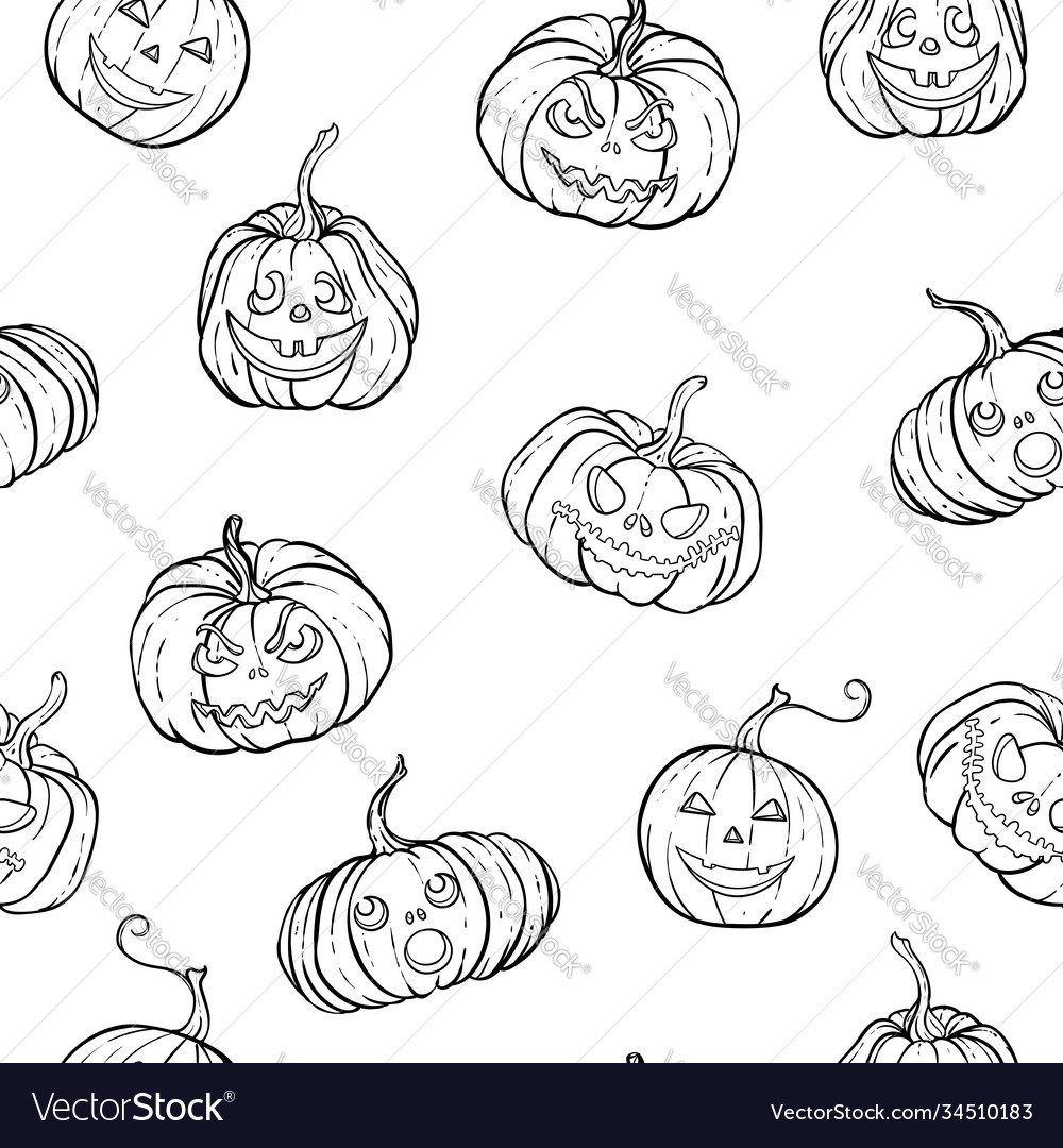 Halloween seamless pattern black and white