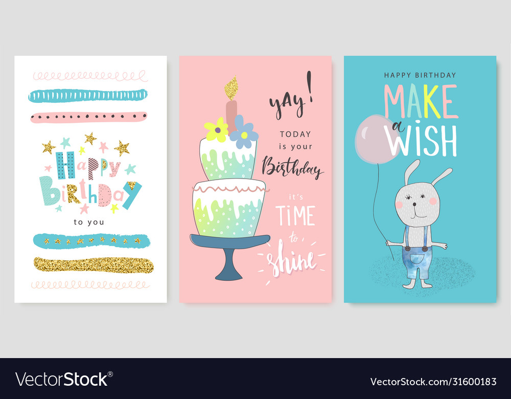 Happy birthday greeting cards and party invitation