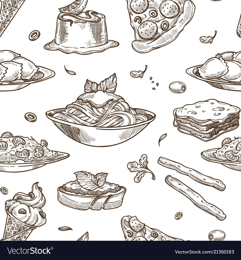 Italian cuisine sketch seamless pattern