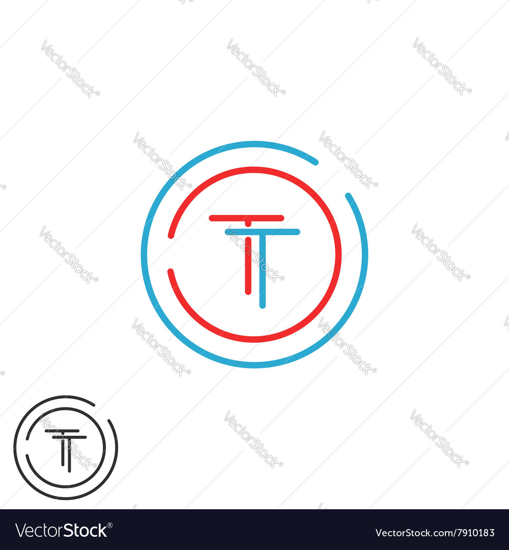 Monogram TT logo letters two hipster initials red