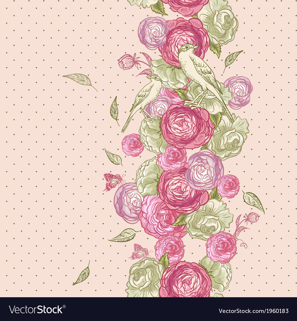Rose Seamless Background with Birds vector image