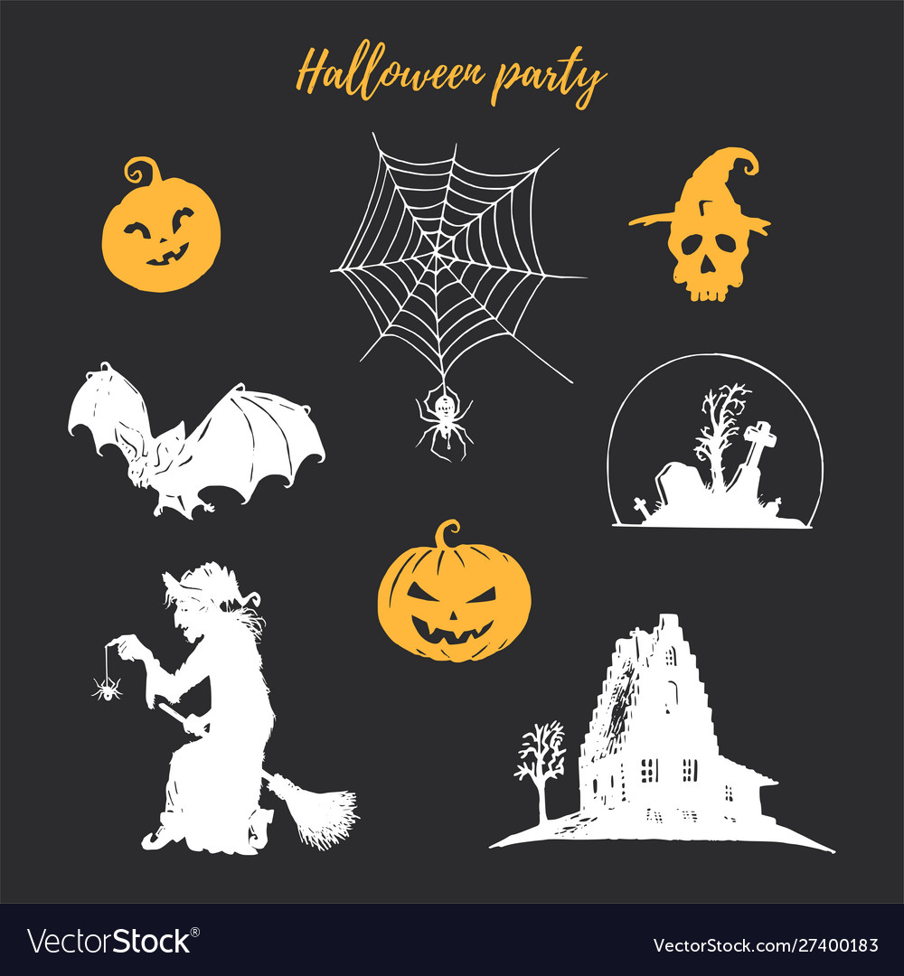 Set halloween icons all saints day