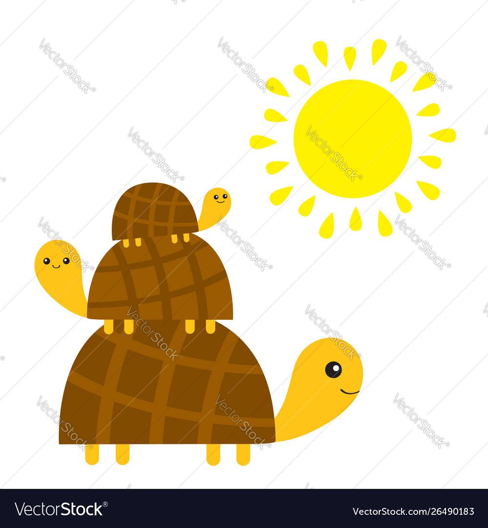 Three turtle tortoise pyramid yellow sun cute