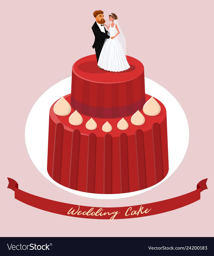 Wedding cake with newlyweds figures