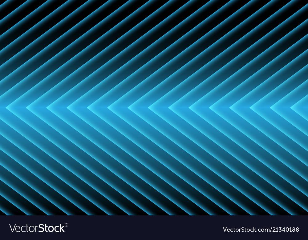 Abstract blue arrow light pattern on black design