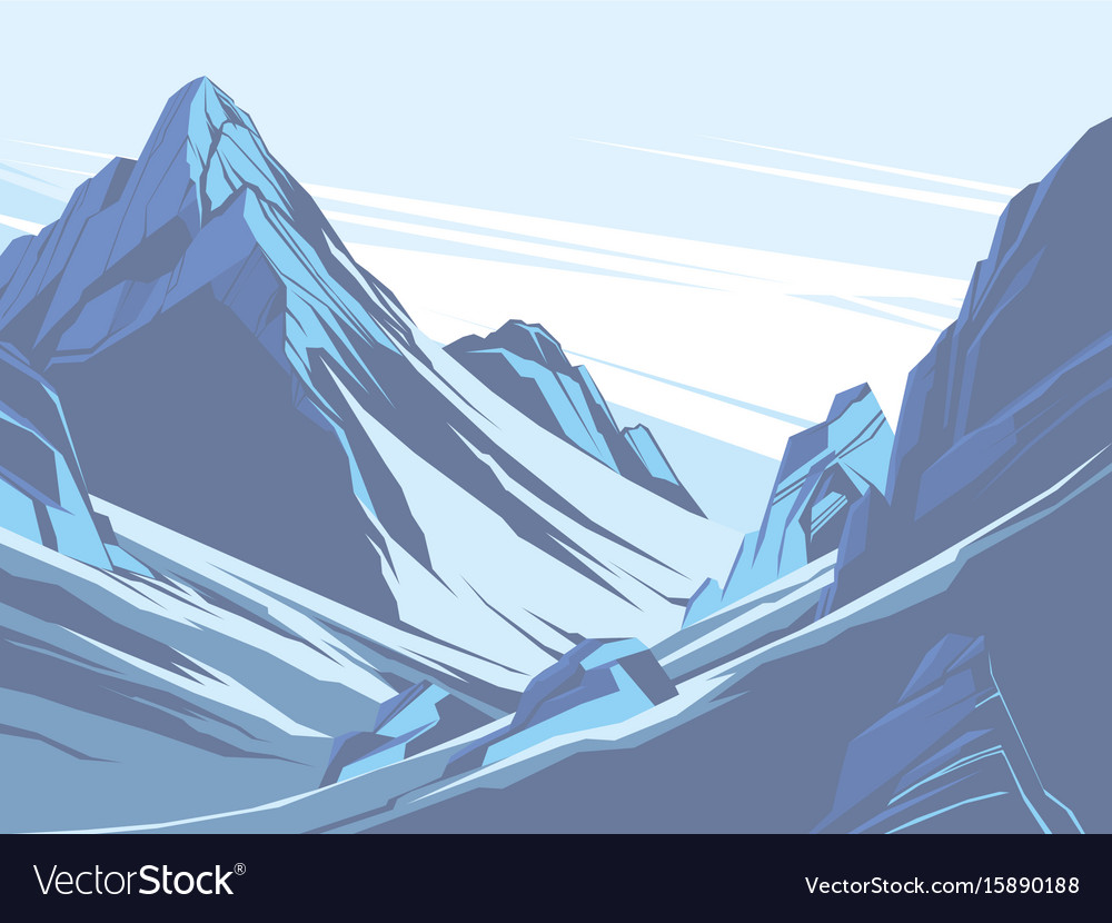 Blue mountains with snow