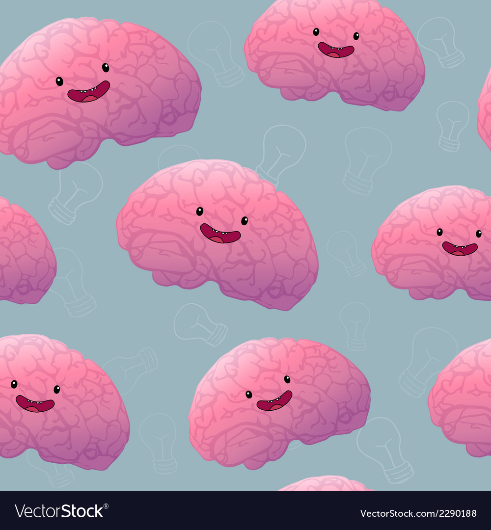 Brainstorm happy brain seamless pattern vector image