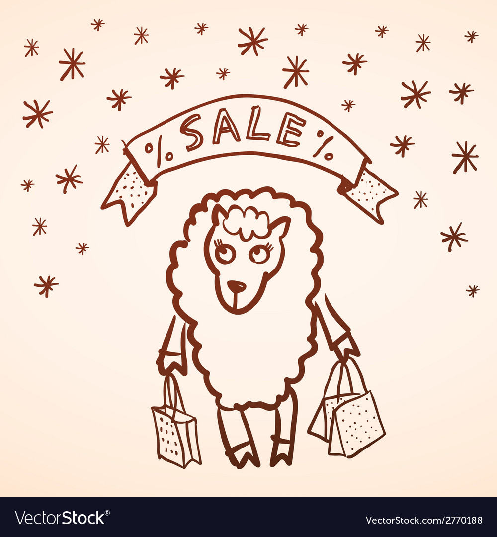 christmas sale merry christmas card funny sheep vector image - Christmas Card Sale